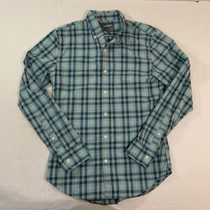 Bonobos Plaid Button Front Shirt Blue Slim S